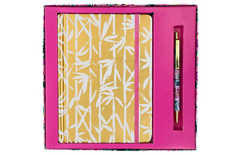 Bamboo Bash Journal w/ Pen, Pink/Gold