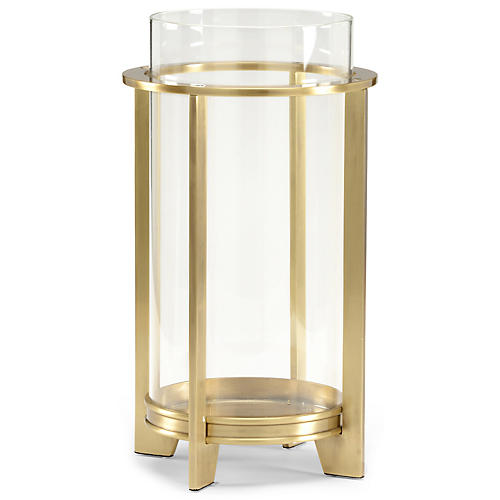 "16"" Cook Crystal Hurricane, Antiqued Brass"