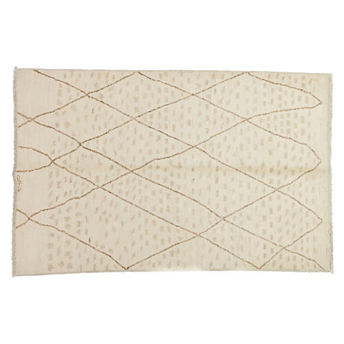 6'x9' Moroccan Rug, Bone