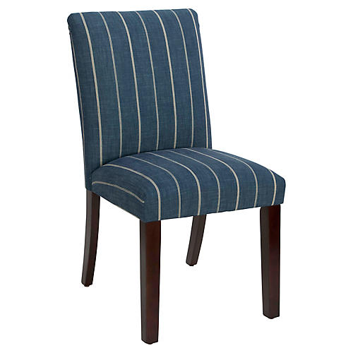 Shannon Side Chair, Fritz Indigo Linen