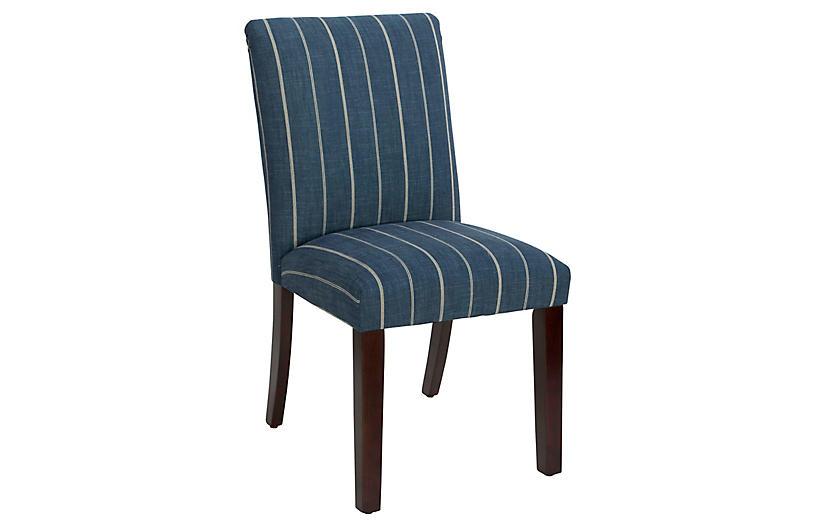Shannon Side Chair, Fritz Indigo Linen