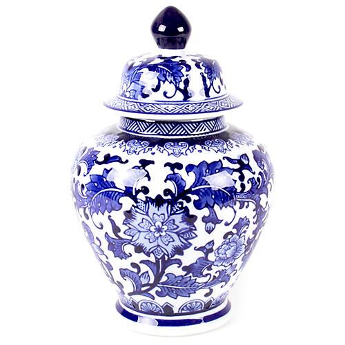 """11"""" Floral Ginger Jar, Blue/White"""