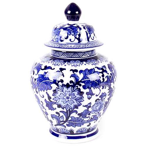 "11"" Floral Ginger Jar, Blue/White"