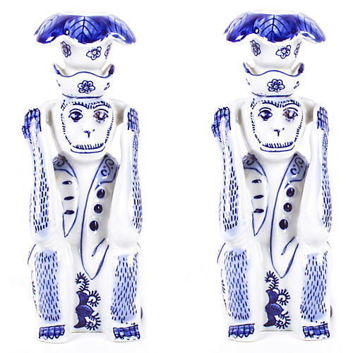 S/2 Hear No Evil Monkey Candlesticks, Blue/White