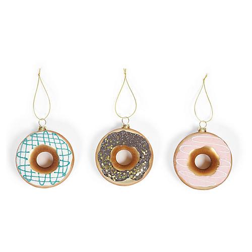 Asst. of 3 Doughnut Ornaments, Gold/Multi