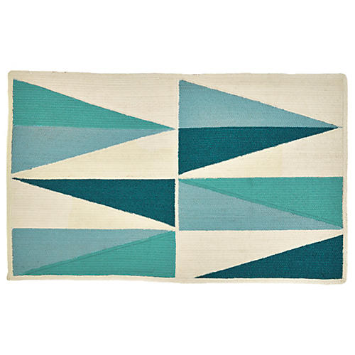 Agra Outdoor Rug, Aqua/Multi