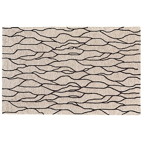 Finley Rug, Black/Taupe