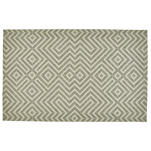 Chennai Flat-Weave Outdoor Rug, Gray/Ivory