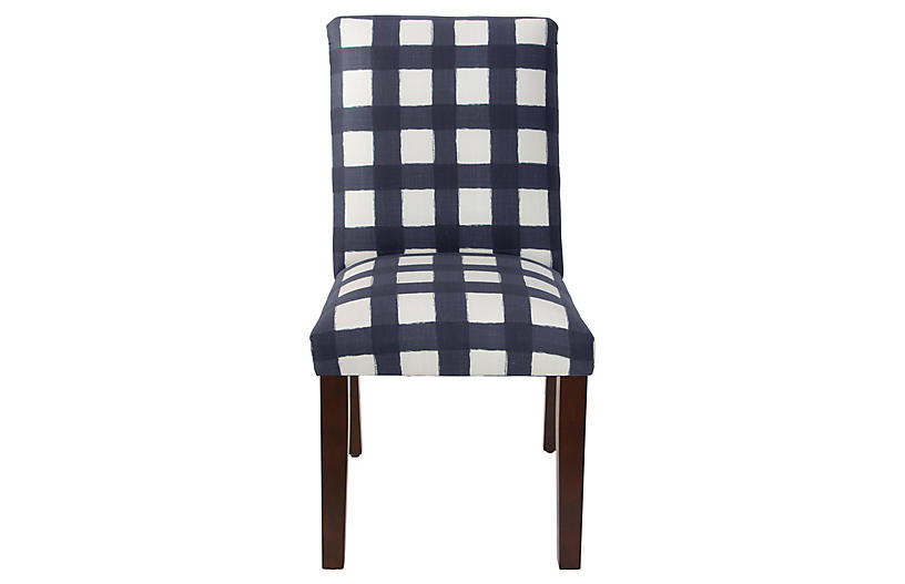 Shannon Side Chair, Navy Gingham Linen