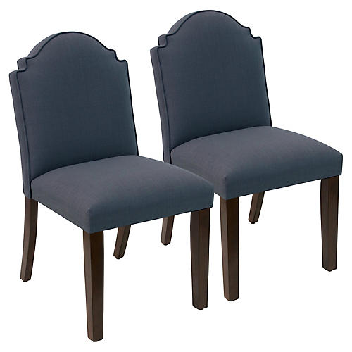 S/2 Elloree Side Chairs, Navy