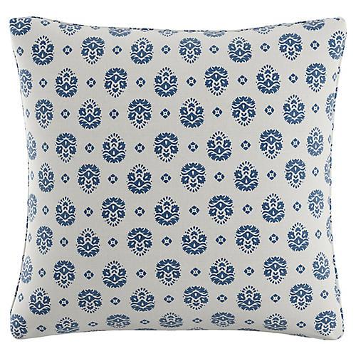 Block Floral 20x20 Pillow, White/Indigo