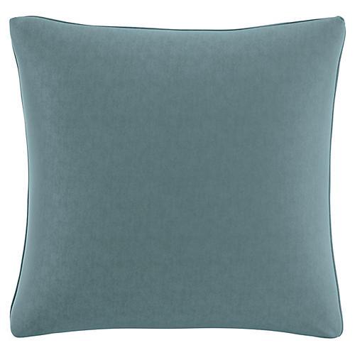 Zett 20x20 Pillow, Blue Stone Velvet