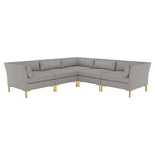 Marceau L-Shaped Sectional, Gray