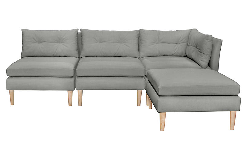 Madeline Reversible Sectional, Gray | One Kings Lane