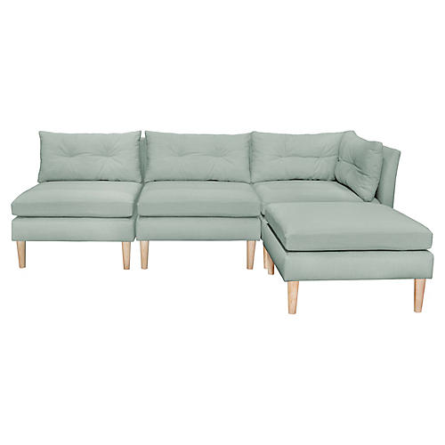 Madeline Reversible Sectional, Mint Linen