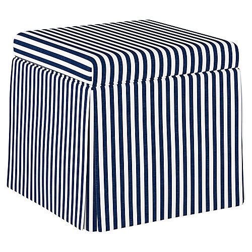 Anne Skirted Storage Ottoman, Navy Stripe Linen