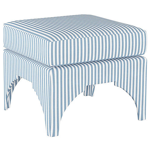 Maude Pillow-Top Ottoman, Blue Stripe Linen