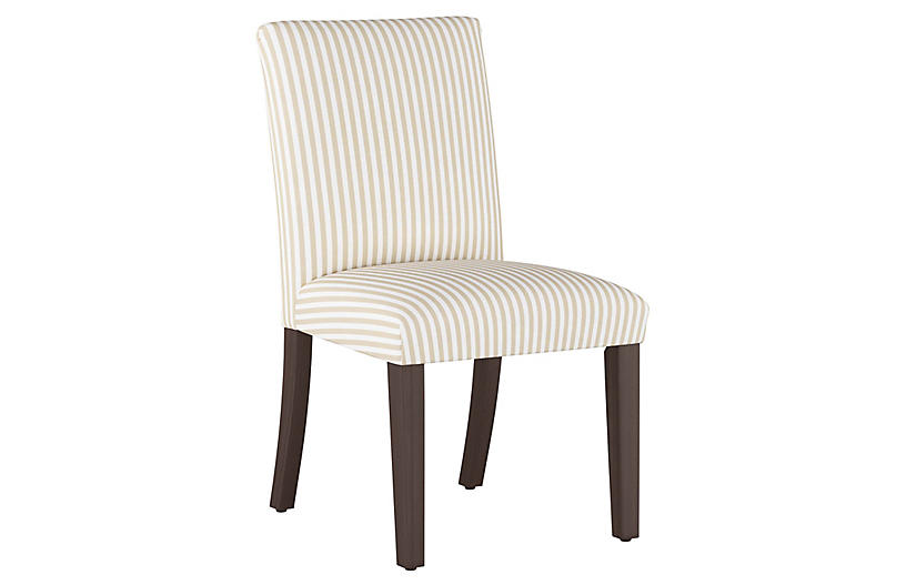Shannon Side Chair, Natural Stripe Linen