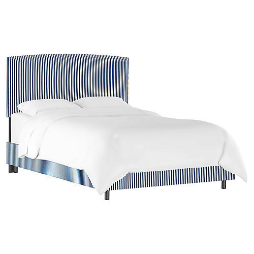 Everly Bed, Navy Stripe Linen