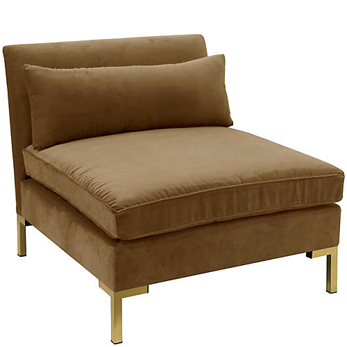 Marceau Slipper Chair, Sand Velvet