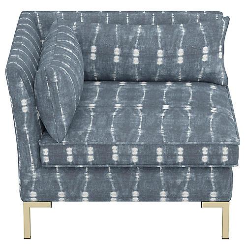 Marceau Corner Chair, Indigo