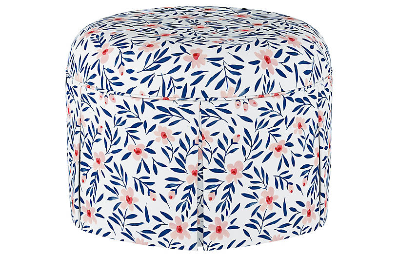 Liza Skirted Ottoman, Blush Floral Linen