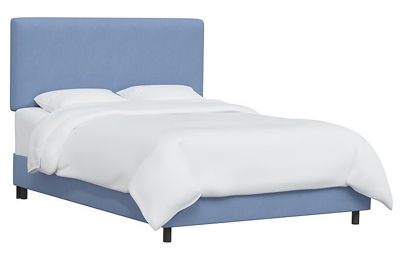 Novak Bed, French Blue Linen