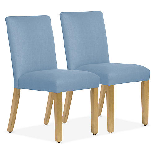 S/2 Shannon Side Chairs, French Blue Linen
