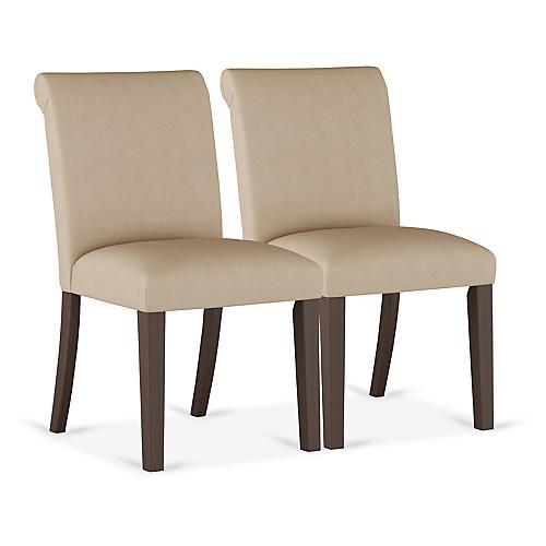 S/2 Carmen Side Chairs, Sand Linen