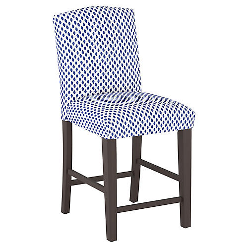 Marie Arched Counter Stool, Navy Dot