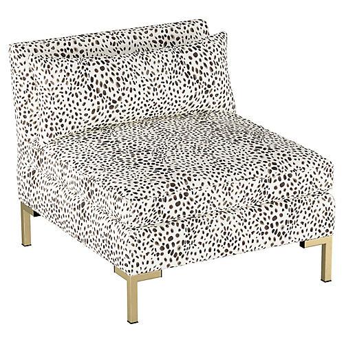 Marceau Slipper Chair, Cream/Gray