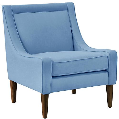 Scarlett Accent Chair, French Blue Linen