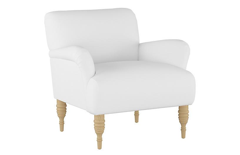 Nicolette Club Chair, White Linen