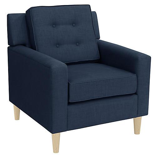 Winston Club Chair, Navy Linen