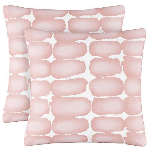 S/2 Shibori Dot Pillows, Blush/White