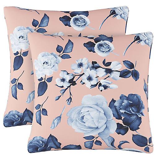 S/2 Mellow Floral Pillows, Blush/Navy Linen