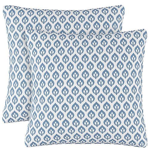 S/2 Elliot Floral Pillows, Sky/White Linen