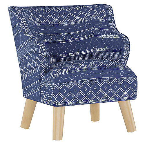 Kira Kids' Accent Chair, Kuba Cobalt Linen