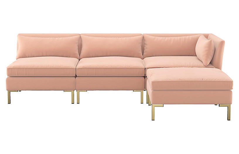 Marceau Reversible Sectional, Blush Velvet