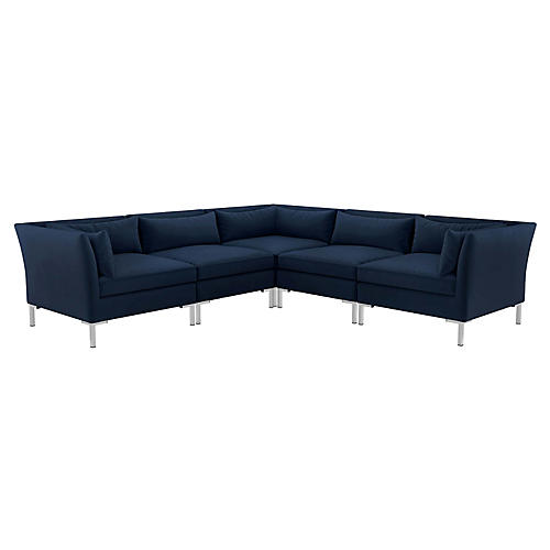 Marceau L-Shaped Sectional, Silver/Navy Velvet