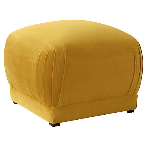 Benton Ottoman, Mustard Velvet