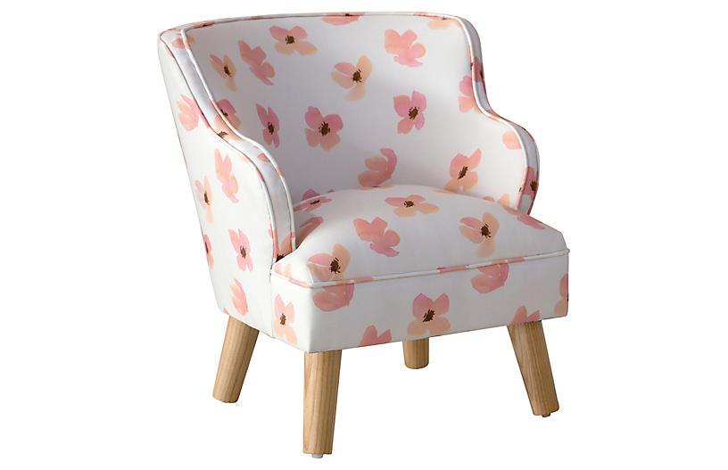 Kira Kids' Accent Chair, Pink Petals