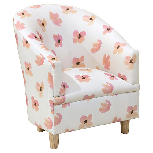 Ashlee Kids' Accent Chair, Pink Petals
