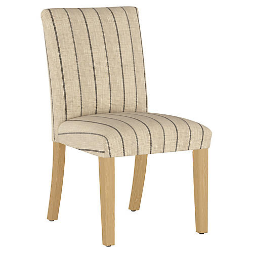 Shannon Side Chair, Tan/Black Stripe