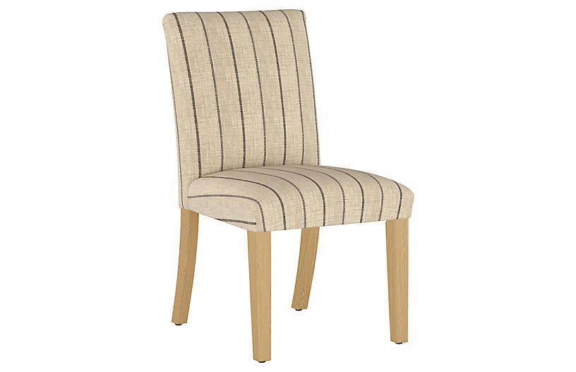 Shannon Side Chair, Tan/Black Stripe