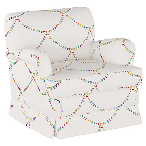 Bunting Scallop Kids' Chair, White/Multi