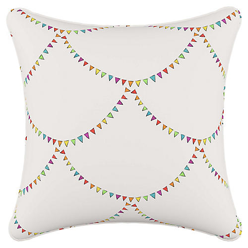 Bunting Scallop 20x20 Pillow, White/Multi