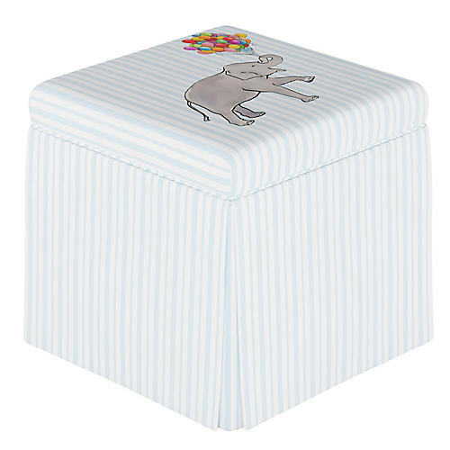 Elephant Stripe Storage Ottoman, English Blue