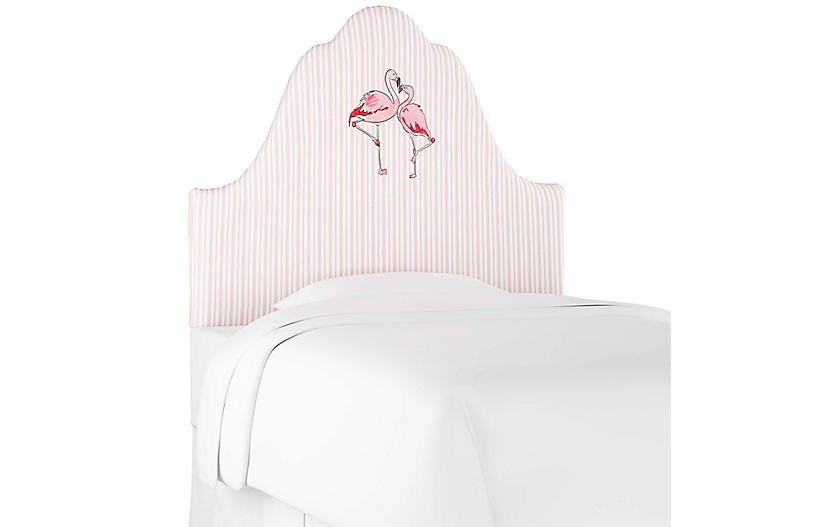 Flamingo Stripe Headboard, English Pink