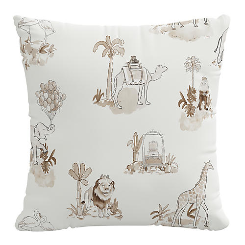 Toile 20x20 Pillow, Tan